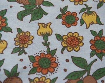Mod Fruit and Flowers- Vintage Fabric 60s New Old Stock Juvenile Pears Daisies Pears 36 in wide