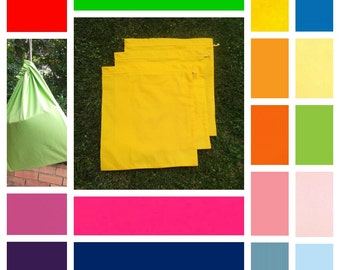 3 large cotton drawstring bags, in 16 colours, toy bag, library bag, games, puzzles