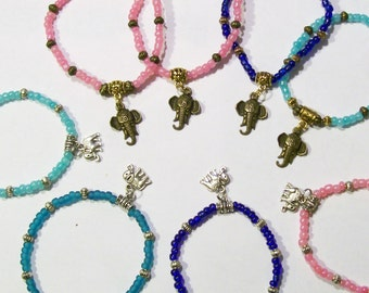 Elephant Sri sukta  Symbolic Of Royalty Charmed Elastic Stretch Bracelet See Other Photos For Customizing