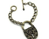 Pirate Cosplay / Gothic Lolita / Boho Antiqued Brass Jumbo Lock Chain Bracelet with Crown-tipped Toggle Closure