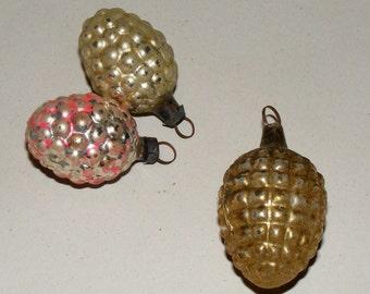 Vintage Mercury Glass Grape and Acorn Bulb Ornament Lot