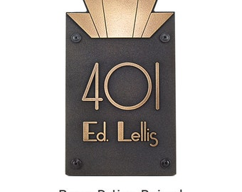 "Modern Art Deco Address Numbers Plaque - 10.5""w x 18.5""h x 1"" - 4 numbers Made in USA by Atlas Signs and Plaques"