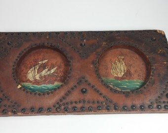 Vintage rustic Spanish maritime leather and metal wall art decor made in Spain