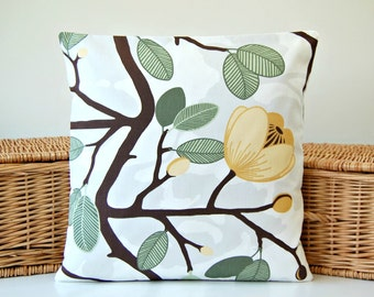 grey green brown mustard yellow decorative pillow cover, 16 inch flowers floral leaves, cushion cover 40 cm