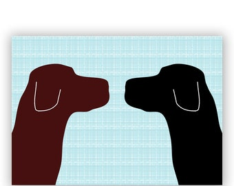Brown Labrador With Black Labrador Dogs Print Face to face  - Fine art print, two dogs, dog decor, brown silhouette, pet lover
