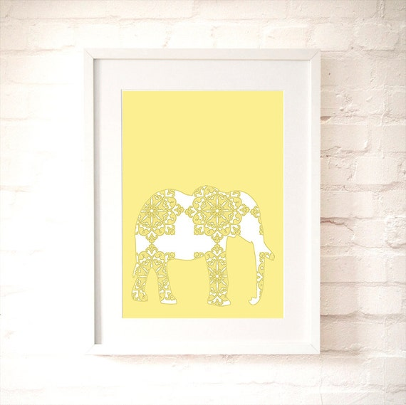 Floral Elephant Art Print -  Kids Art Prints, animal nursery decor, baby nursery decor, nursery elephant, yellow elephant