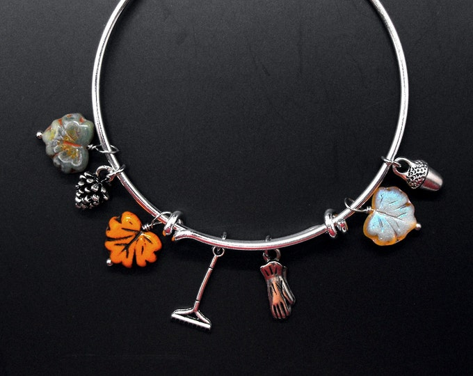 Gardeners Bracelet Autumn Leaves Adjustable Bangle Fall Garden Leaf Gardening Jewelry
