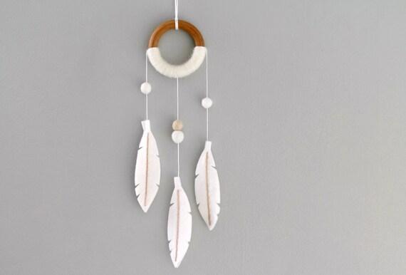 White Dream Catcher Wall Hanging. Boho Nursery Decor. Modern Felt Feather Dream Catcher. Tribal Nursery Dreamer by OrdinaryMommy
