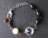 Triple Eclipse -  Assemblage Bracelet With Antique Priest's Rosary Beads Mother of Pearl and Upcycled Chandelier Prism