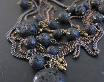 Tangled Chain and Stone Bib Necklace - Lava Rocks and Brass - Rock Slide No. 16