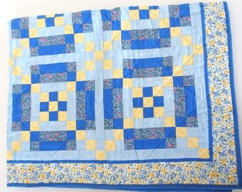 Yellow and Blue with Pink Roses Baby Quilt Nursery Wall Hanging