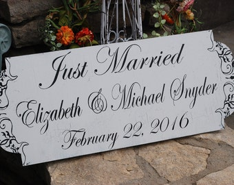 Just Married - Wedding Signs - 24X10 - Custom Wedding Signs- Custom Just Married Signs - FREE Mr and Mrs champagne tags