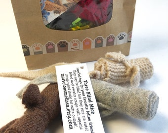 Bag of Mice, Set of 9 Wool Mini Catnip Mice, New Kitten Gift Deal, Organic Catnip, Small Catnip Toys, Cat Fetching Toy, Tiny Catnip Mice