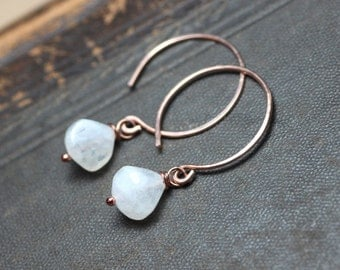 Moonstone Earrings White Gemstone Earrings 14k Rose Gold Filled Hoop Earrings Rustic Jewelry