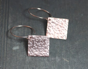 Textured Copper Earrings Hammered Copper Earrings Rustic Copper Jewelry Square Diamond