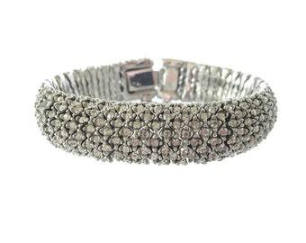 Vintage Rhinestone Bracelet, Chevron Cuff, Unsigned Ciner, Crystal Link, 1940s Wedding Jewelry, Statement Jewelry