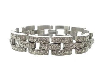 Art Deco 1920s Bracelet, Vintage Art Deco Cuff, Antique Jewelry, Wide Art Deco Rhinestone Link, Bridal Jewelry