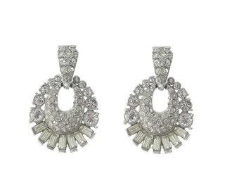 Vintage Rhinestone Earrings, Bogoff Designer Hoops, 1940s Fine Vintage Wedding Jewelry, Vintage Jewellery
