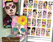 Day of the Dead Collage Sheet - 1x2 Domino Images - Domino Collage Sheet - Decoupage Jewelry - DIY Jewelry Images - Calico Collage - Skulls