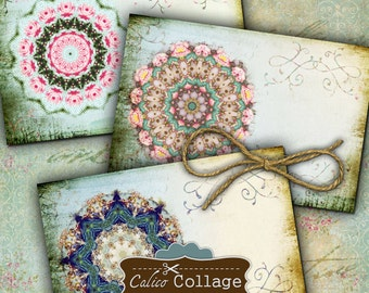 Mandala Digital Collage Sheet Postcard Size 4x6 Collage Sheet for Decoupage, Scrapbooking, Image Transfers, Decoupage Paper, Mandala Images