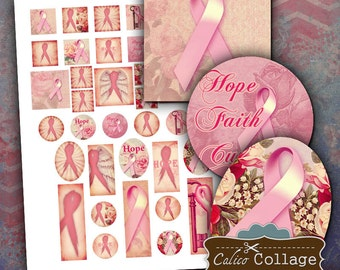 Think Pink Digital Collage Sheet Breast Cancer Awareness Mixed Sizes for Pendants, Decoupage, Wood Tiles, Digital Download, Printables