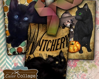 Black Cats and Witches, Collage Sheet, Halloween Images, Printable Tags, Digital Tags, Digital Halloween, Journal Cards, Junk Journals