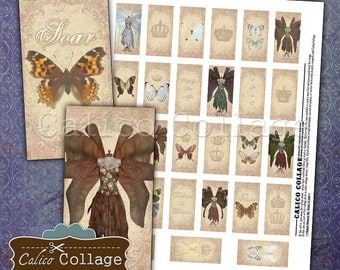 Butterfly Dressforms, Digital Collage, Domino Collage Sheet, 1x2 Inch Images, Printable Dominoes, Vintage Dressforms, Images for Pendants
