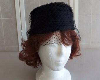 Vintage Black Pillbox Church/Dress Hat