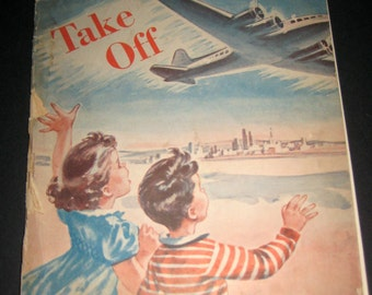 Vintage (1948) reading Readiness Workbook - Take Off - Great Pics for Crafting