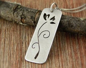 Lily necklace, hand-cut sterling silver flower necklace, large lily pendant.