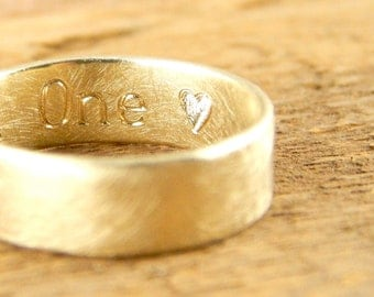 Engraved gold ring, wide gold wedding band 6 mm, 14k solid gold band, 14k yellow gold wedding ring, engraveable.