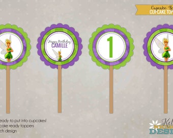 Custom Tinkerbell Girl's Birthday Party Cupcake Toppers Template, Children Party Decoration, Instant Download #B133