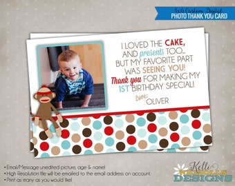 Custom Sock Monkey Thank You Card, Children's Birthday Party Thank You Note, Sock Monkey Printable #B126-B