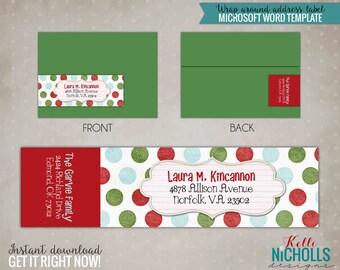 Polka Dot Christmas Wrap Around Address Labels