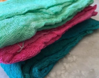 Hand Dyed Cheesecloth Set of 3 Summer Mint