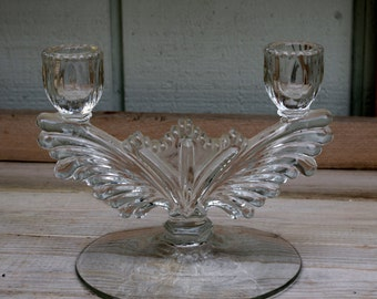 Art Deco Depression Glass Candlestick Candle Holder Double Arm