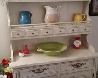 Hutch Display Painted French Country Shabby Chic Custom Hutch Display piece