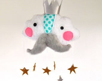 The Cloud Prince // A Whimsical Baby Mobile of Clouds and Stars // Perfect Gift for New Parents