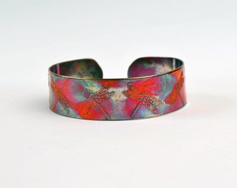 Etched Copper Cuff, dragonfly bracelet, dragonfly gifts, patterns in nature,  slim size, copper jewellery, patina bracelet, handmade bangle
