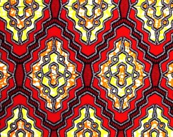 African Fabric 1/2 Yard Cotton Wax Print RED ORANGE YELLOW Abstract Geometric