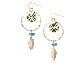Gold arrowhead and turquoise earrings - bohemian jewelry
