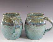 Large Pottery Mug , Perfect For The Beach,Stamped Handles Serving, Turquoise With SMM Glazes