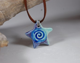 Glass Infused Star Pottery Pendant J07 Necklace, Boho Style, Turquoise With Purple