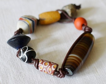 Antique African Trade and Stone Bead Bracelet Medium Size
