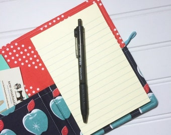 SUMMER SALE - Mini Shopper - Notepad holder List taker - Picnic Aqua apples by Melody Miller