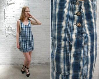 90s denim jumper dress / 90s sleeveless denim smock dress / plaid grunge minimalist normcore