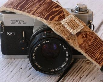 dSLR Camera Strap. Camera Strap.  Wood Camera Strap. Burlap Camera Strap. Camera Strap - Rhinestone Camera Strap. Camera Neck Strap.