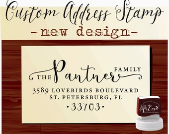 Calligraphy Handwriting Script Custom Return Address Stamp - Personalized SELF INKING Wedding Stationery Stamper - Style 1162M