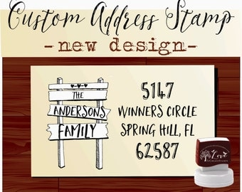Calligraphy Handwriting Script Custom Return Address Stamp - Personalized SELF INKING Family sign Wedding Stationery Stamp - Style 1103
