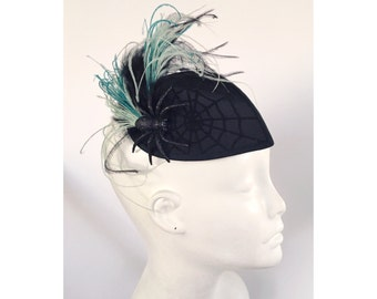Fall Winds - Spider Web feather fascinator hat